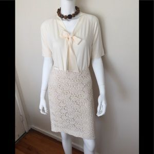 Talbots cream crochet fabric skirt/ w/ lining
